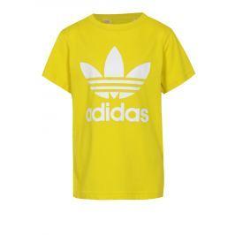 Žluté dětské tričko s bílým potiskem adidas Originals