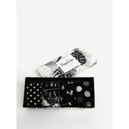 Sada čtyř párů šedo-černých vzorovaných unisex ponožek Happy Socks Black&White