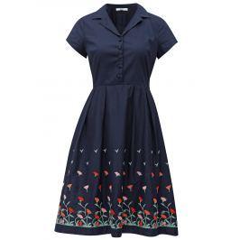 Tmavě modré šaty s výšivkami květin Fever London Elsie