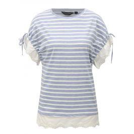 Modré pruhované tričko s krajkou Dorothy Perkins
