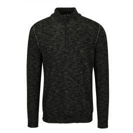 Černý pánský žíhaný svetr se zipem s.Oliver