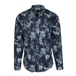 Tmavě modrá květovaná košile Lindbergh