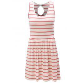 Bílo-růžové pruhované šaty s průstřihem na zádech ONLY Rina