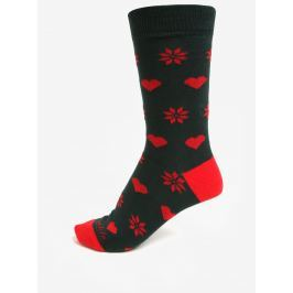 Tmavě zelené unisex ponožky se srdci a vločkami Fusakle Vianočná ľúbosť
