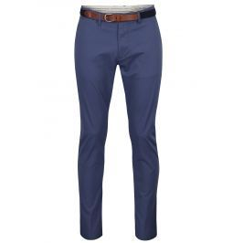 Modré slim fit chino kalhoty s páskem Selected Homme Hyard