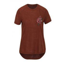 Hnědé tričko s výšivkou ONLY Helena