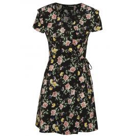 Černé květované zavinovací šaty Mela London
