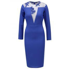 Modré šaty s dlouhým rukávem Miss Grey Tina