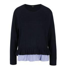 Tmavě modrý svetr s všitým košilovým lemem ONLY Naja