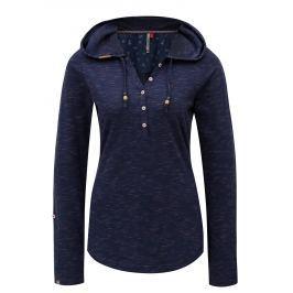Tmavě modré žíhané dámské tričko s kapucí Ragwear Drop