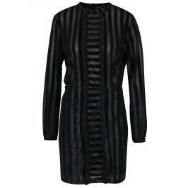 Černé pruhované šaty s volány a dlouhým rukávem Fornarina Olinda