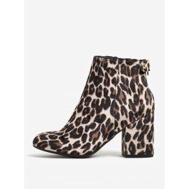 Černo-béžové kotníkové boty na podpatku s leopardím vzorem Dorothy Perkins