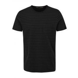 Černé vzorované slim fit tričko Jack & Jones Clark