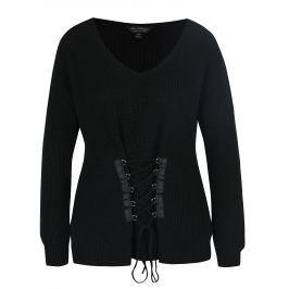 Černý svetr se šněrováním Miss Selfridge