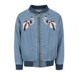 Modrý holčičí lehký džínový bomber s výšivkou small rags Freya