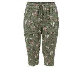 Zelené květované zkrácené dámské kalhoty s elastickým pasem M&Co