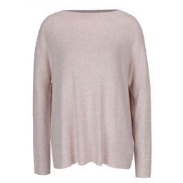 Světle růžový žíhaný svetr s dlouhým rukávem ONLY Kleo