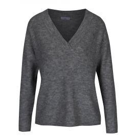 Tmavě šedý žebrovaný svetr s véčkovým výstřihem Jacqueline de Yong Gold