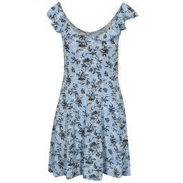 Světle modré květované šaty s volánem Miss Selfridge Button