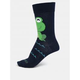 Tmavě modré unisex ponožky s motivem žáby Fusakle Žaba neblázni