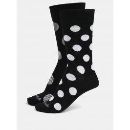 Bílo-černé unisex puntíkované ponožky Fusakle Biele diery