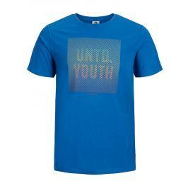Modré slim fit tričko s potiskem Jack & Jones Flyn