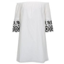 Bílé šaty s odhalenými rameny a výšivkou Dorothy Perkins