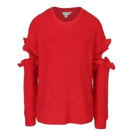 Červený svetr s průstřihy na rukávech Miss Selfridge