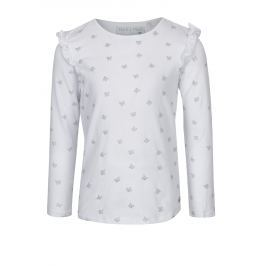 Bílé vzorované holčičí tričko s dlouhým rukávem 5.10.15.