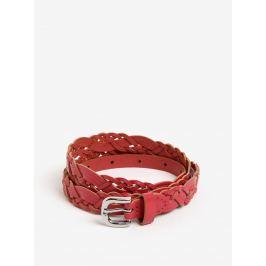 Růžový kožený pásek Pieces Melina