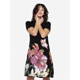 Černé květované šaty s krátkým rukávem Desigual Aristo