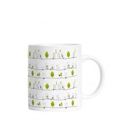 Zeleno-krémový hrnek s motivem ptáků Butter Kings
