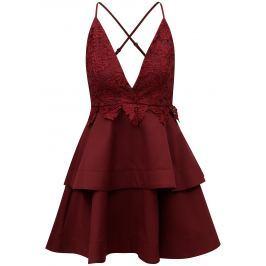 Vínové šaty na ramínka s krajkou MISSGUIDED