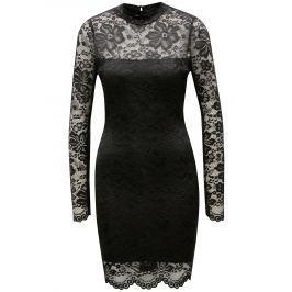 Černé krajkové pouzdrové šaty s dlouhým rukávem MISSGUIDED