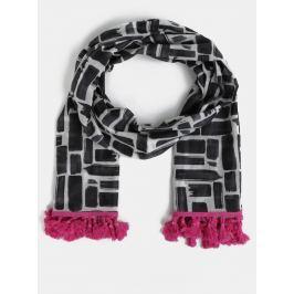 Bílo-černý vzorovaný šátek Disaster Scarf
