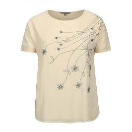 Béžové tričko s výšivkou Ulla Popken
