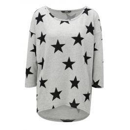 Šedé vzorované oversize tričko s 3/4 rukávem ONLY Elcos
