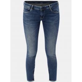 Modré dámské zkrácené skinny džíny se zipy na nohavicích Pepe Jeans