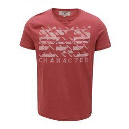 Cihlové pánské pánské tričko s potiskem Garcia Jeans