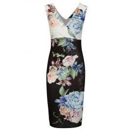 Černé pouzdrové květované šaty s řasením Scarlett B