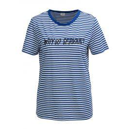 Bílo-modré pruhované tričko s výšivkou Jacqueline de Yong Tolla