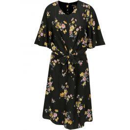 Černé květované šaty s uzlem Dorothy Perkins Tall