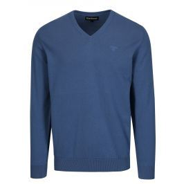 Modrý svetr s véčkovým výstřihem a výšivkou Barbour Pima