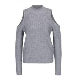 Světle šedý svetr s průstřihy na ramenou VILA Heida