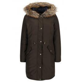 Khaki oboustranný kabát s kapucí s kožíškem Dorothy Perkins