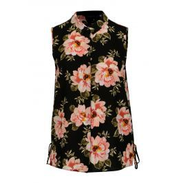 Černá květovaná košile bez rukávu Dorothy Perkins Curve