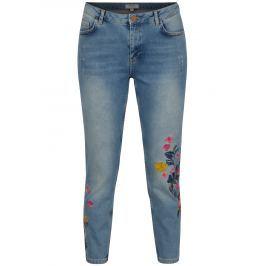 Modré skinny zrkácené džíny s výšivkou Dorothy Perkins