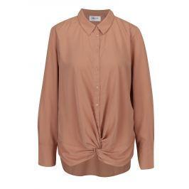 Hnědá košile s uzlem v přední části VERO MODA Bind