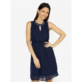 Tmavě modré šaty s korálkovou výšivkou VERO MODA Wam