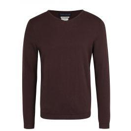 Hnědý lehký svetr s véčkovým výstřihem Jack & Jones Luke Premium